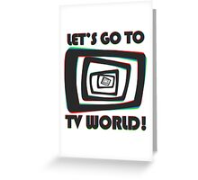 TV World Black Greeting Card
