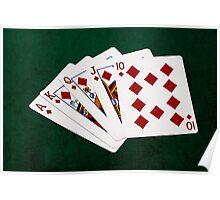 Poker Hands - Royal Flush Diamonds Suit Poster