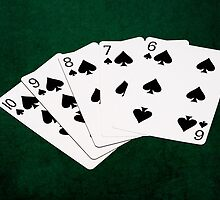 Poker Hands - Straight Flush Spades Suit by luckypixel