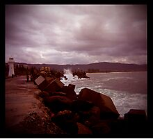 little lighthouse and breakwater Photographic Print