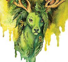 Green Forest Deer Spirit by TrollWorks