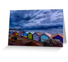 Beach Boxes in a Storm Greeting Card