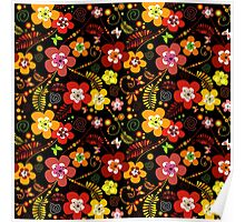 Vintage Stylish Colorful Floral Pattern Poster