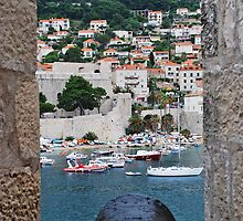 Dubrovnik view through canon port by Marylamb
