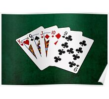 Poker Hands - Straight - King To Nine Poster