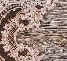 vintage rustic Country Barn Wood white Lace pattern by lfang77