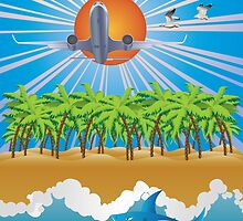 Airplane fly over tropical island by AnnArtshock