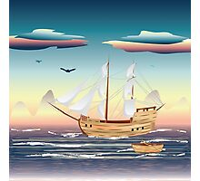 Old sailing ship on the open ocean at sunset Photographic Print