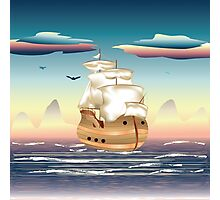 Old sailing ship on the open ocean at sunset 3 Photographic Print