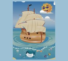 Wooden Ship in the Sea Kids Clothes