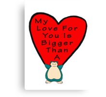 Snorlax Love Canvas Print
