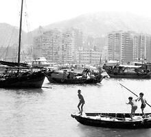 Children fishing in Hong Kong Harbour by Roz McQuillan
