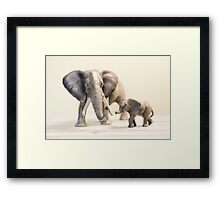 Mama and Baby Elephant Framed Print