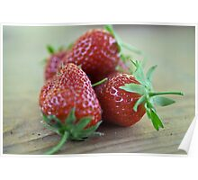 A close-up image  of strawberries Poster