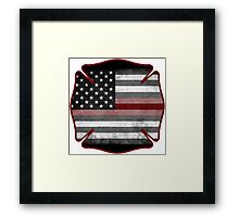 Thin Red Line - Fire Cross Framed Print