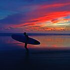 Lone Surfer @ Sunset by Ray Smith