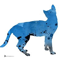 Blue cat silhouettes art print watercolor painting by Joanna Szmerdt