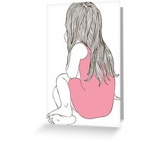 Little girl in a pink dress sitting back hair Greeting Card