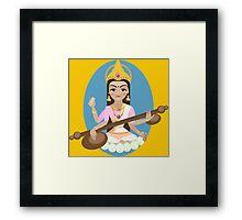 Hindu Goddess Saraswati. Vector hand drawn illustration. Framed Print