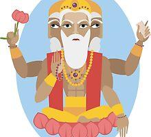 illustration of Hindu deity lord Brahma by OlgaBerlet