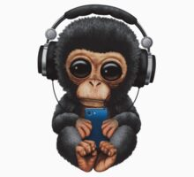 Chimpanzee Dj with Headphones and Cell Phone Kids Clothes