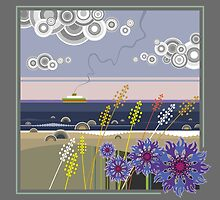 Sea landscape with wildflowers and ferry boat by hollada