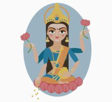 illustration of Hindu deity mother Lakshmi Kids Clothes