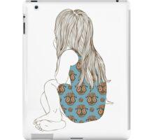 Little girl in a dress sitting back hair iPad Case/Skin