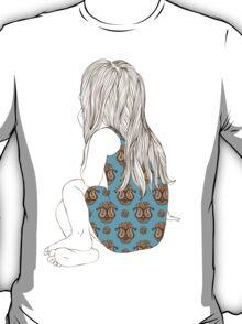 Little girl in a dress sitting back hair T-Shirt