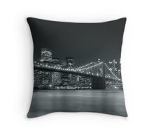 Silver Nights - New York Throw Pillow