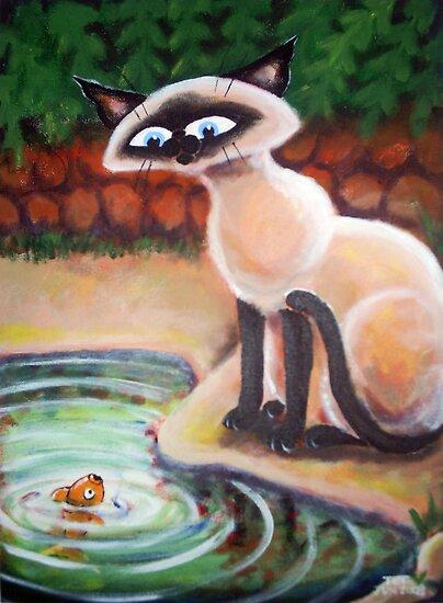 Three Cats Fishing - Right Panel by etourist
