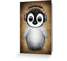 Cute Baby Penguin Dj Wearing Headphones Greeting Card