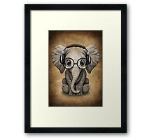 Cute Baby Elephant Dj Wearing Headphones and Glasses Framed Print