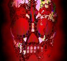 Day of the Dead Skull and Fire by Val  Brackenridge