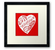 Valentine 2 Aussie Tangle White - See Description Notes re Background Colour Choices Framed Print
