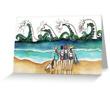 Four and a dog Greeting Card
