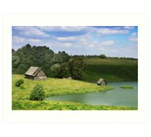 The old village by a lake in Lithuania Art Print