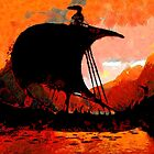 A Viking Longship at Sunset - all products by Dennis Melling