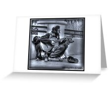 Man, Guitar, Dog Greeting Card