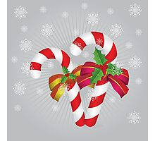 Two candy canes with bows Photographic Print