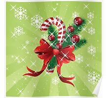 Holiday background with candy cane and bow Poster