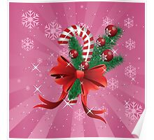 Holiday background with candy cane and bow 2 Poster