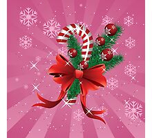 Holiday background with candy cane and bow 2 Photographic Print