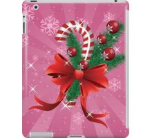 Holiday background with candy cane and bow 2 iPad Case/Skin