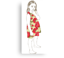 Little girl in a dress Canvas Print