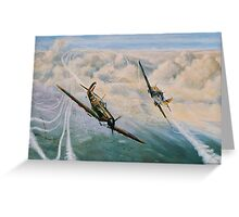 B of B Spitfire and Me109 Greeting Card