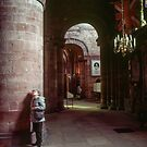 Marj looking at ceiling Carlisle Cathedral Cumbria England 198405250021 by Fred Mitchell