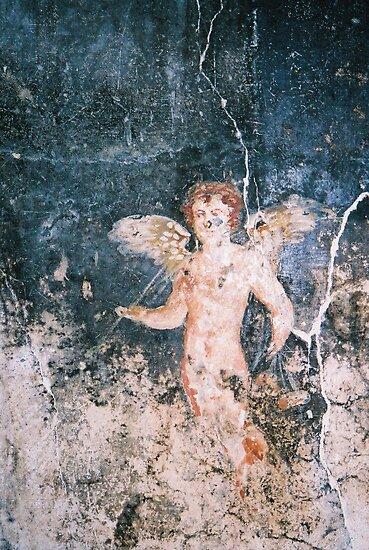 Angel fresco from Pompeii, Italy by Elana Bailey