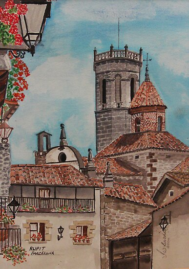 Watercolour.                  Rupit , Barcelona .  by Irene  Burdell