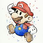 Mario Watercolor Painting by OlechkaDesign